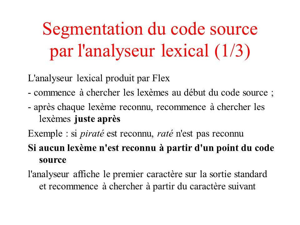 Segmentation du code source par l analyseur lexical (1/3)