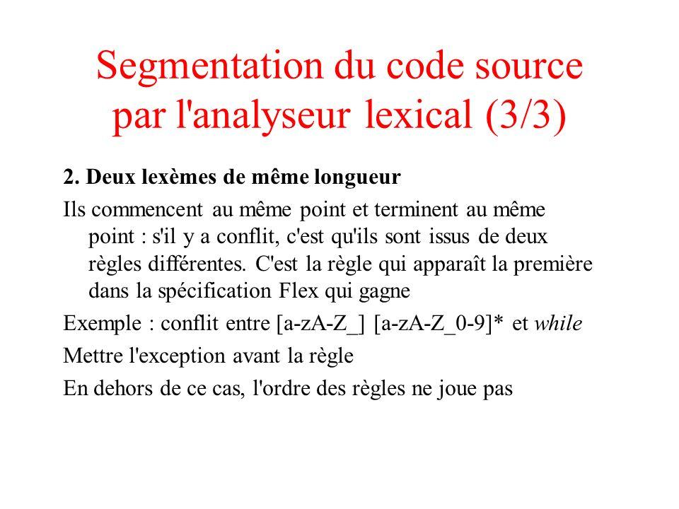 Segmentation du code source par l analyseur lexical (3/3)