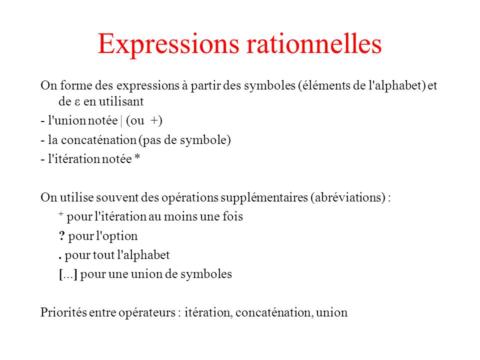 Expressions rationnelles