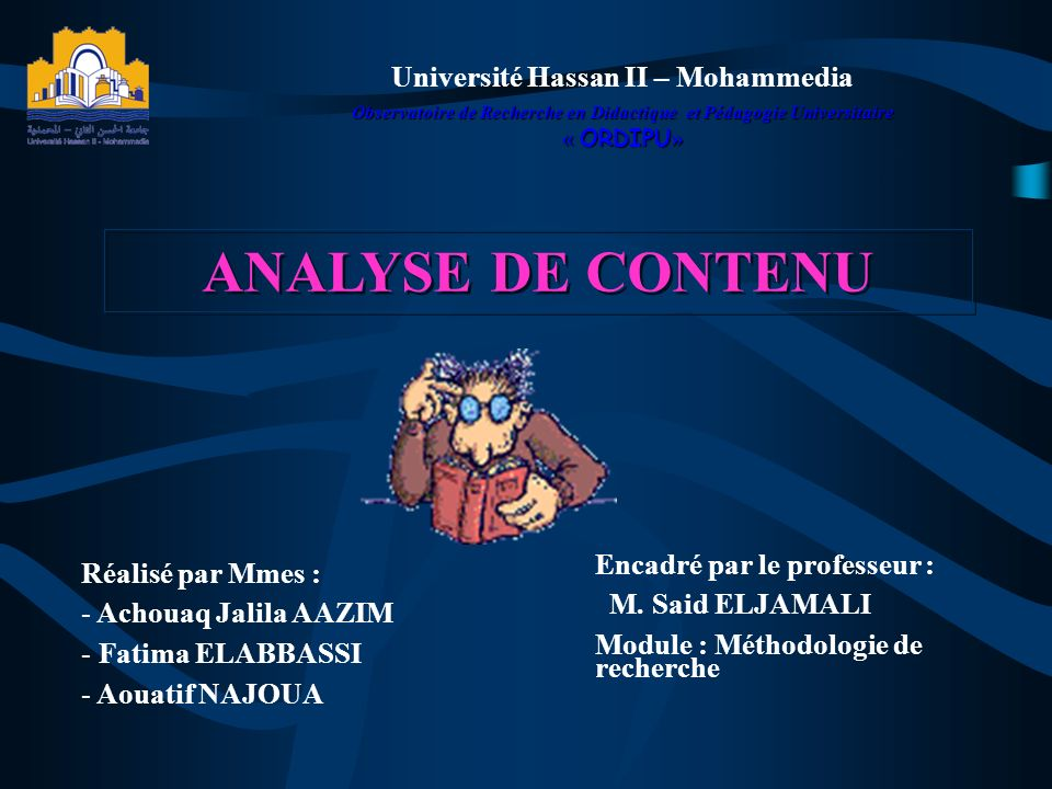 ANALYSE DE CONTENU Université Hassan II – Mohammedia