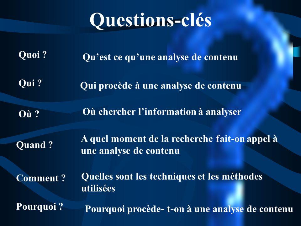 Questions-clés Quoi Qu'est ce qu'une analyse de contenu Qui