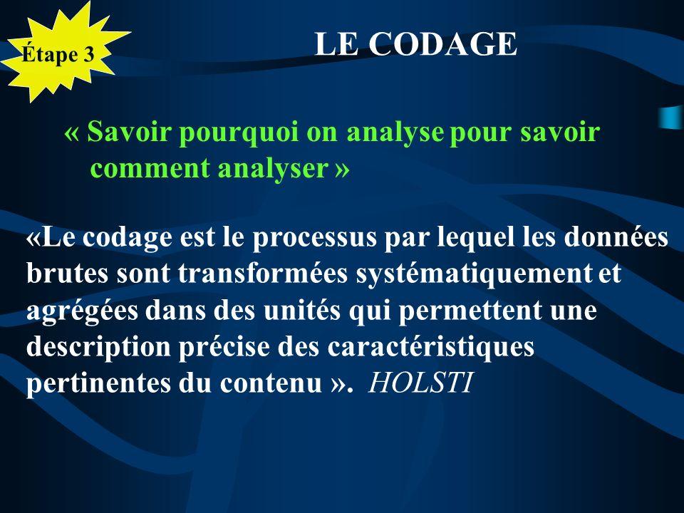 LE CODAGE « Savoir pourquoi on analyse pour savoir comment analyser »