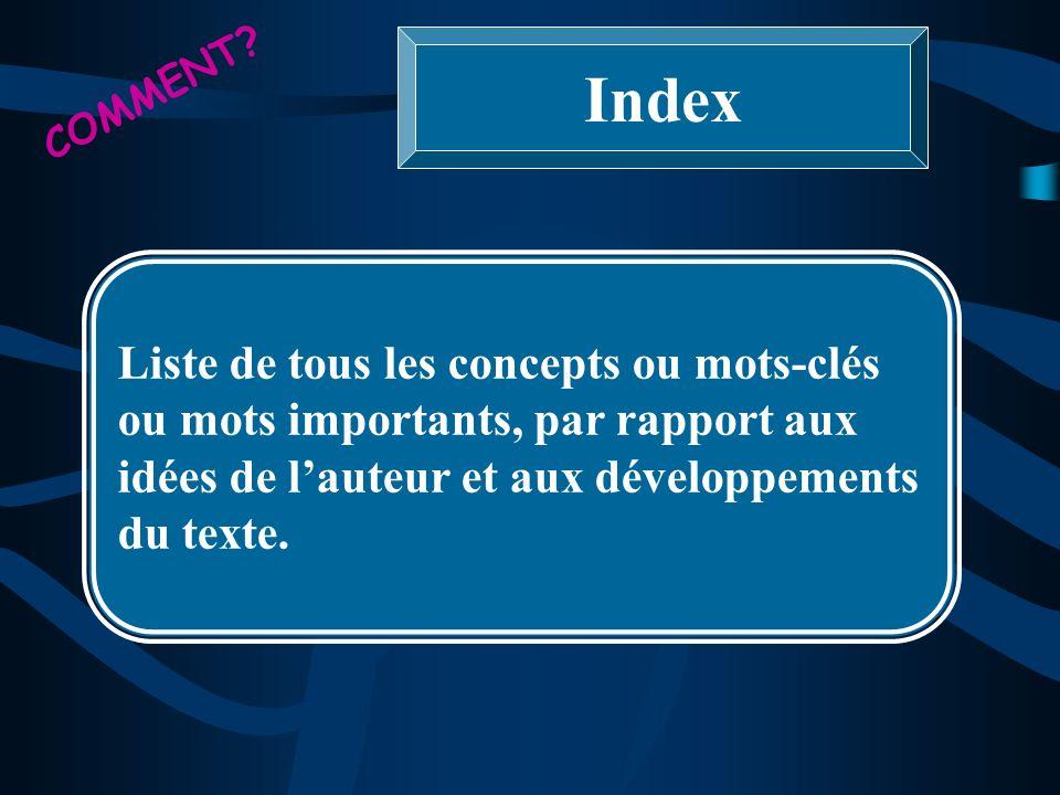 Index Liste de tous les concepts ou mots-clés