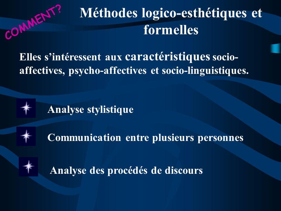 Méthodes logico-esthétiques et formelles