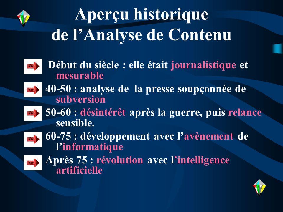 Aperçu historique de l'Analyse de Contenu