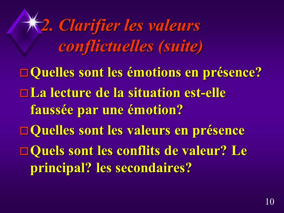 2. Clarifier les valeurs conflictuelles (suite)