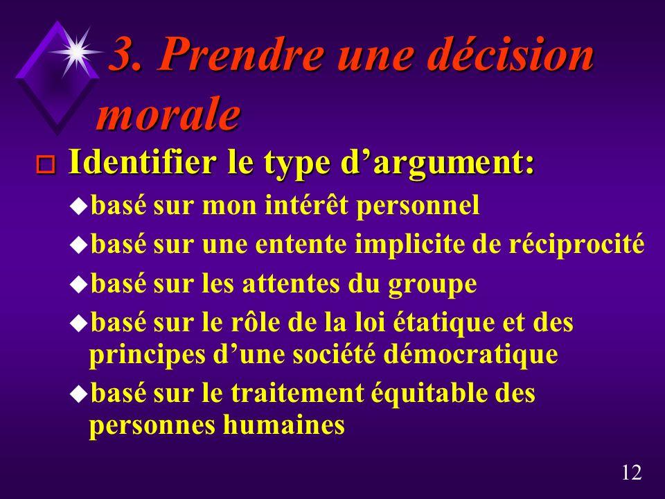 3. Prendre une décision morale