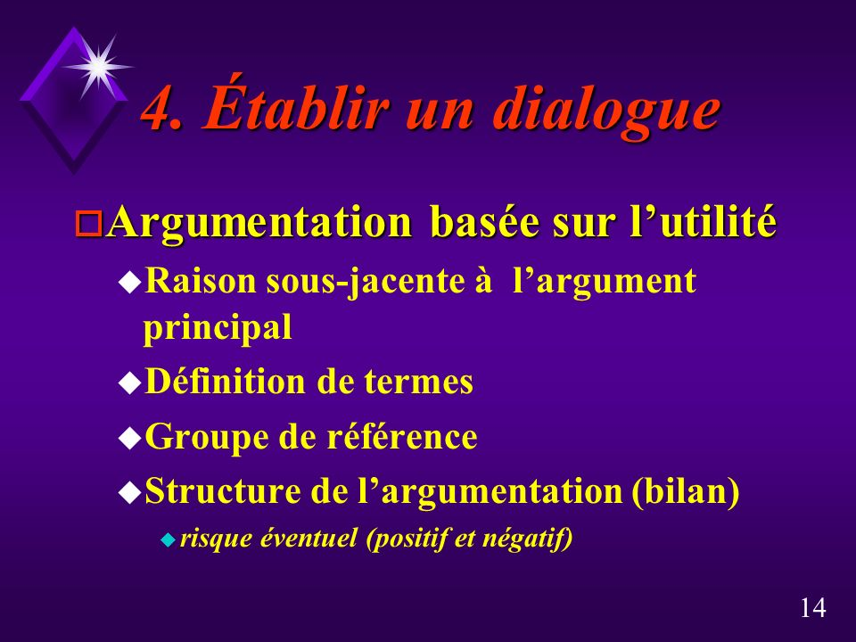4. Établir un dialogue Argumentation basée sur l'utilité