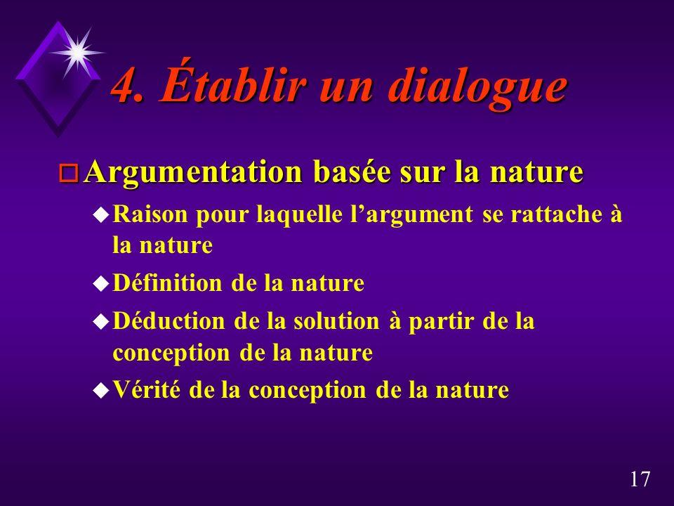 4. Établir un dialogue Argumentation basée sur la nature