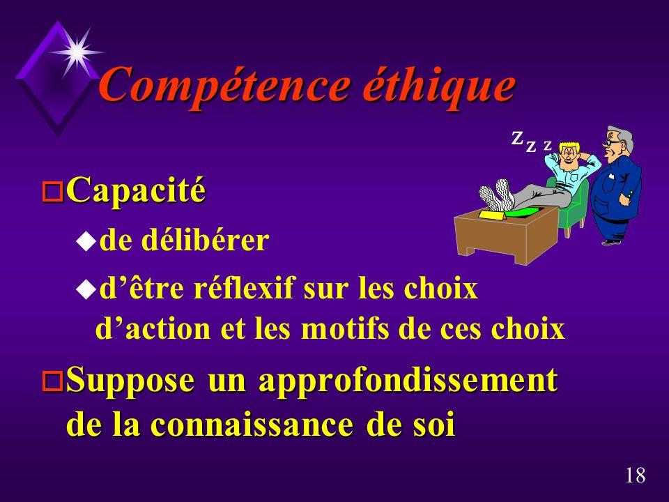 Compétence éthique Capacité