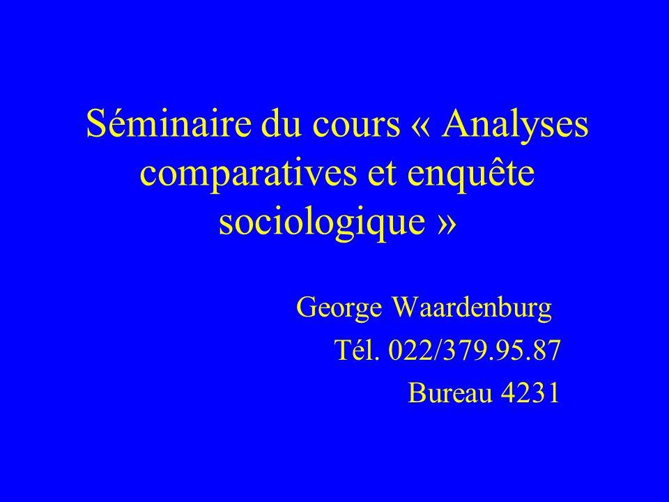 Séminaire du cours « Analyses comparatives et enquête sociologique »