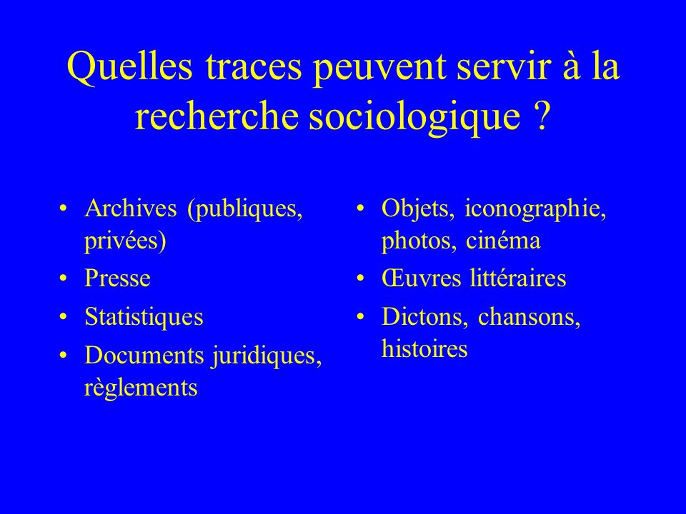 Quelles traces peuvent servir à la recherche sociologique