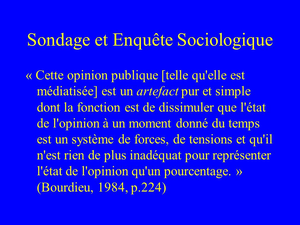 Sondage et Enquête Sociologique
