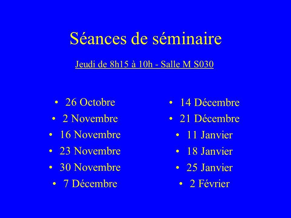 Séances de séminaire 14 Décembre 26 Octobre 21 Décembre 2 Novembre