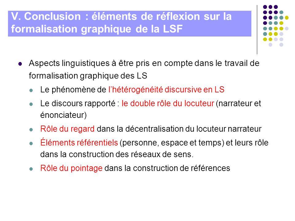 V. Conclusion : éléments de réflexion sur la formalisation graphique de la LSF