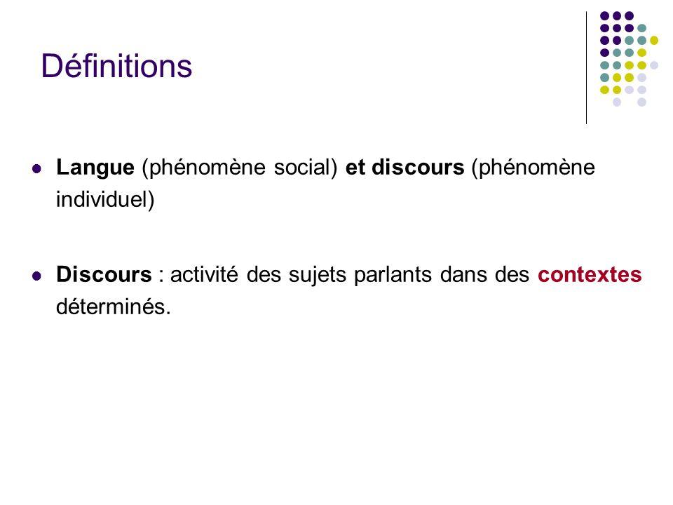 Définitions Langue (phénomène social) et discours (phénomène individuel) Discours : activité des sujets parlants dans des contextes déterminés.