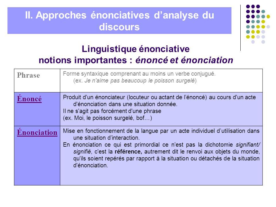 Linguistique énonciative notions importantes : énoncé et énonciation