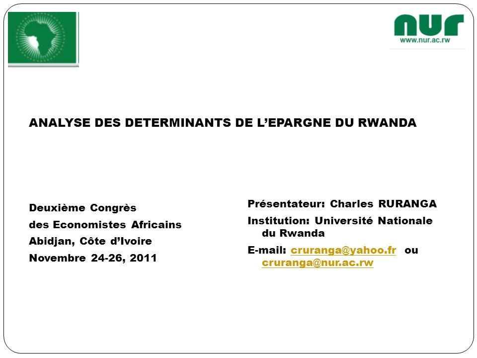 ANALYSE DES DETERMINANTS DE L'EPARGNE DU RWANDA