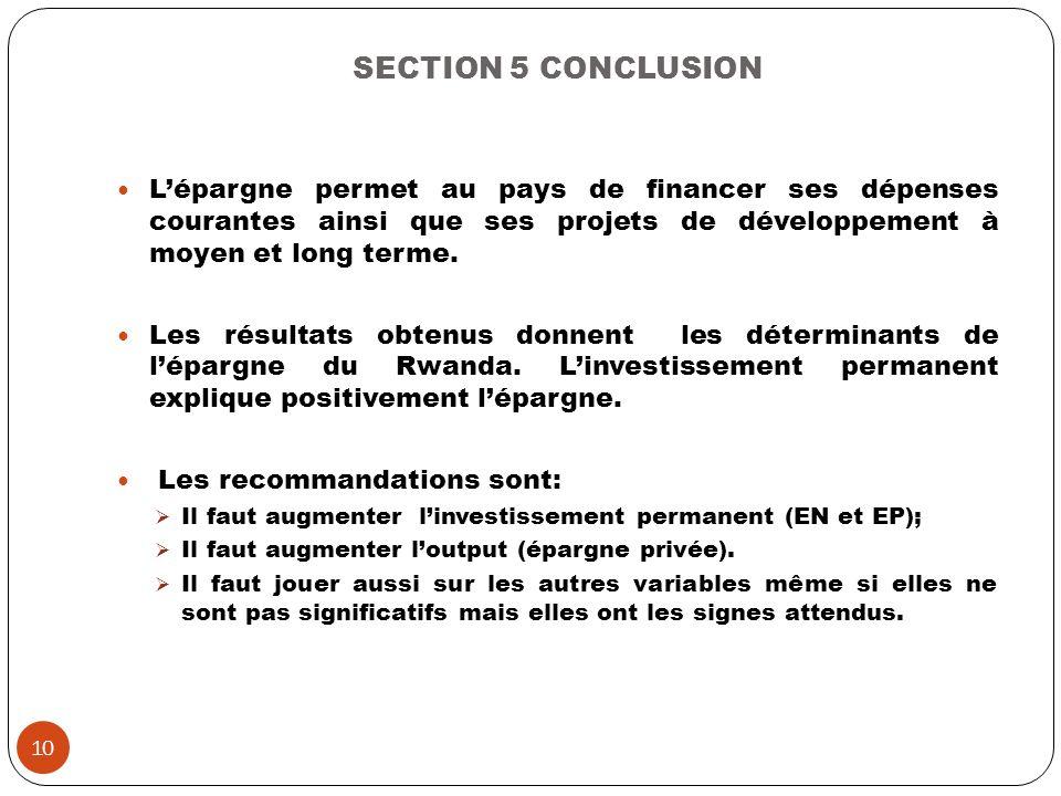 SECTION 5 CONCLUSION L'épargne permet au pays de financer ses dépenses courantes ainsi que ses projets de développement à moyen et long terme.