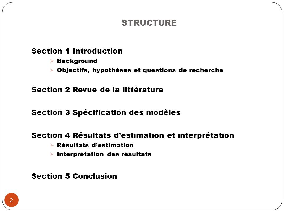 STRUCTURE Section 1 Introduction Section 2 Revue de la littérature