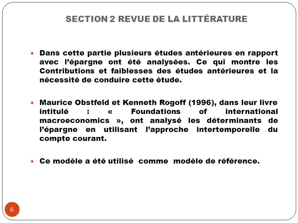SECTION 2 REVUE DE LA LITTÉRATURE