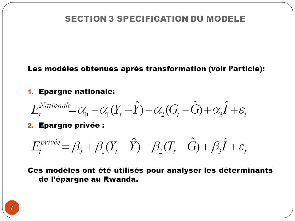 SECTION 3 SPECIFICATION DU MODELE