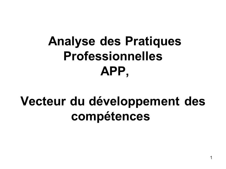 Analyse des Pratiques Professionnelles APP, Vecteur du développement des compétences