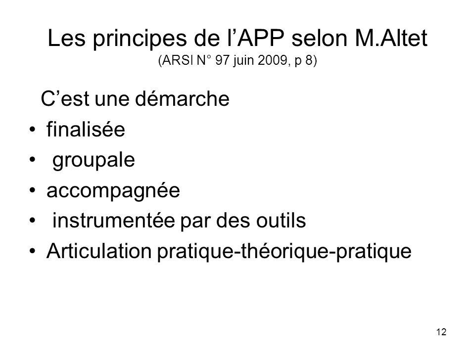 Les principes de l'APP selon M.Altet (ARSI N° 97 juin 2009, p 8)