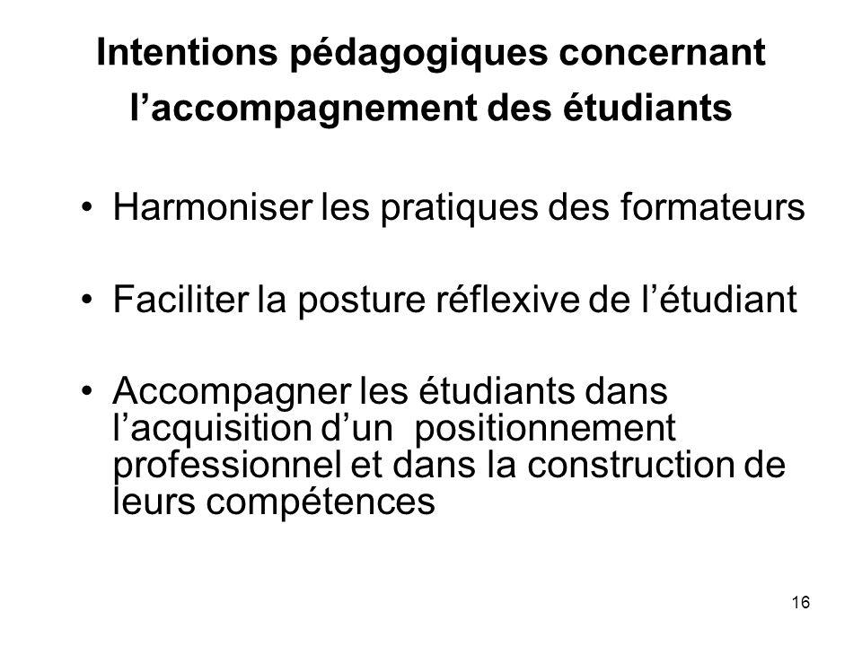 Intentions pédagogiques concernant l'accompagnement des étudiants