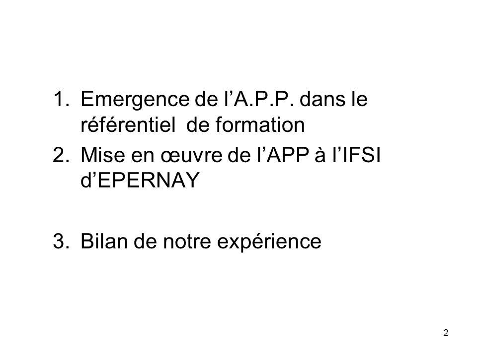 Emergence de l'A.P.P. dans le référentiel de formation