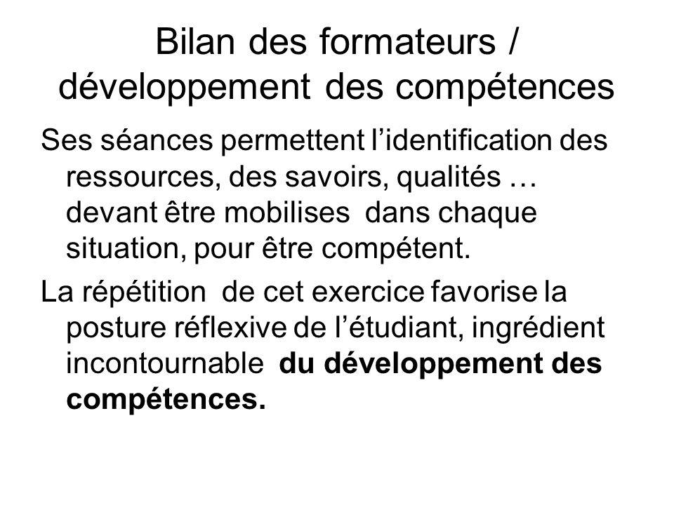 Bilan des formateurs / développement des compétences