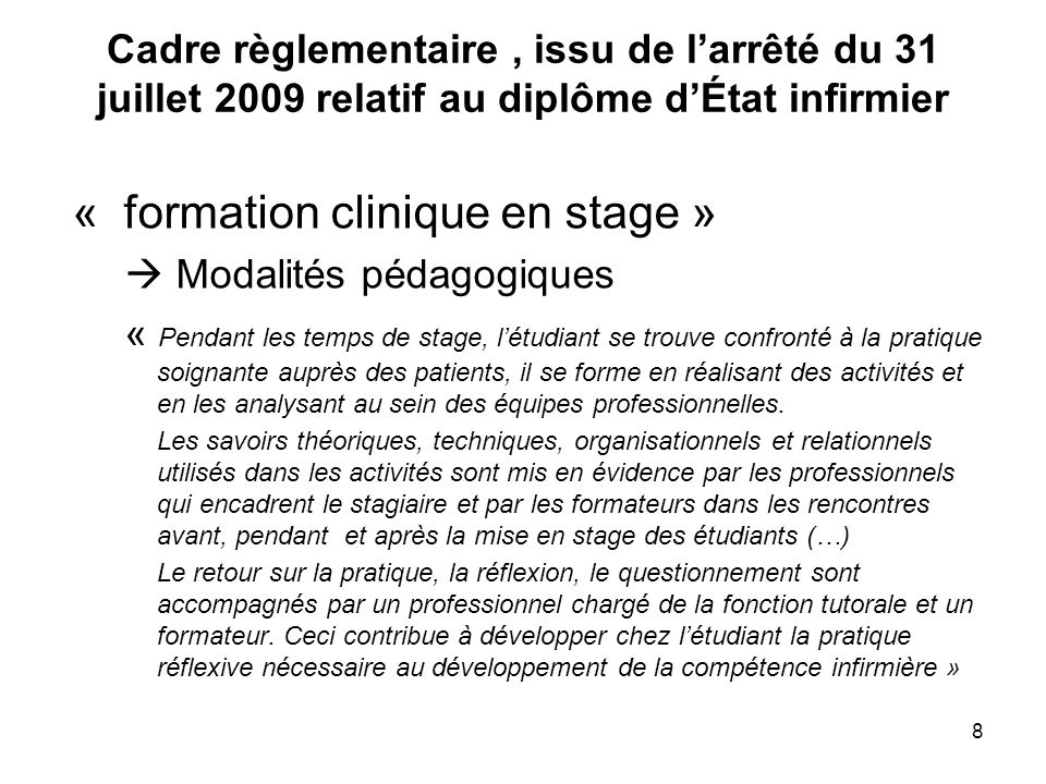 « formation clinique en stage »