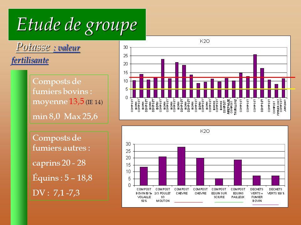 Etude de groupe Potasse : valeur fertilisante