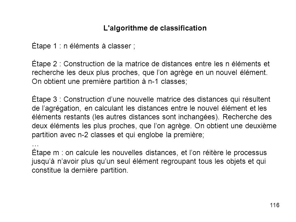 L algorithme de classification
