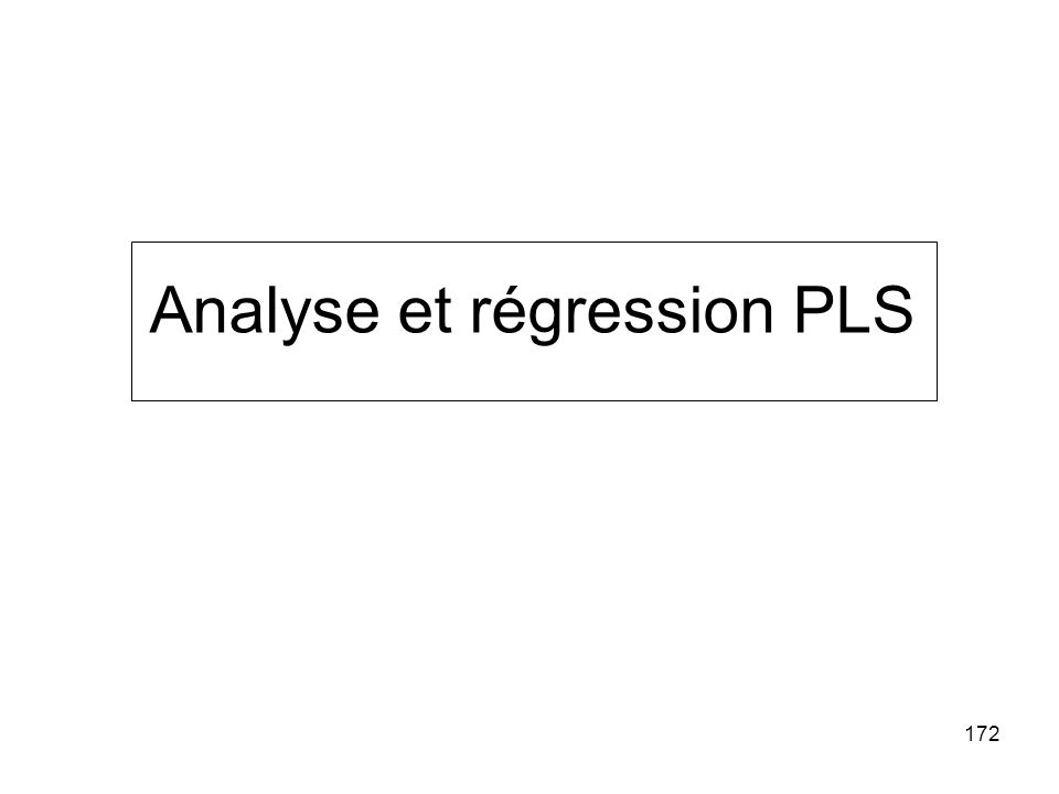 Analyse et régression PLS
