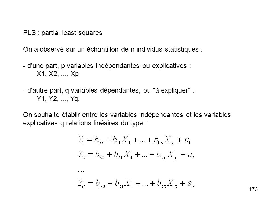 PLS : partial least squares