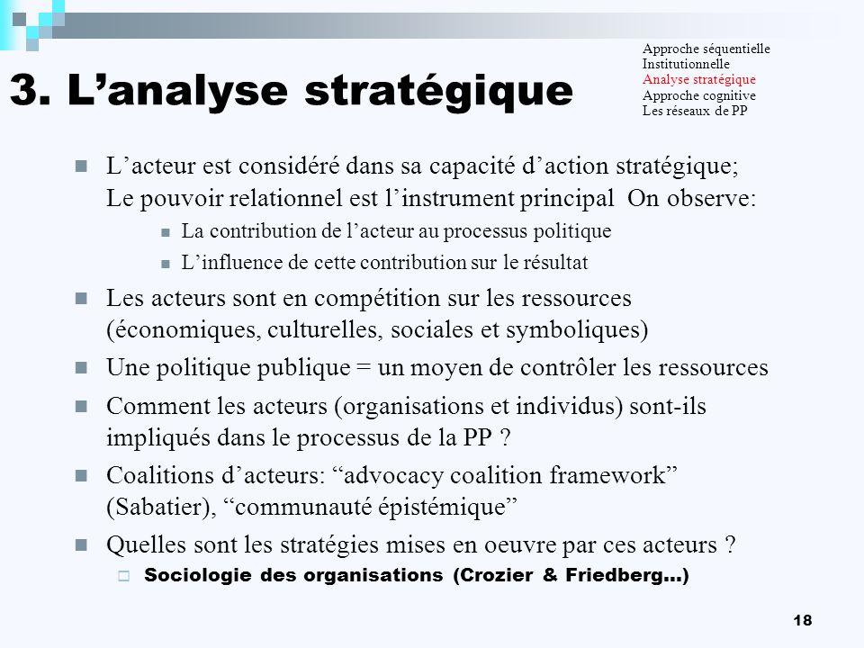 3. L'analyse stratégique