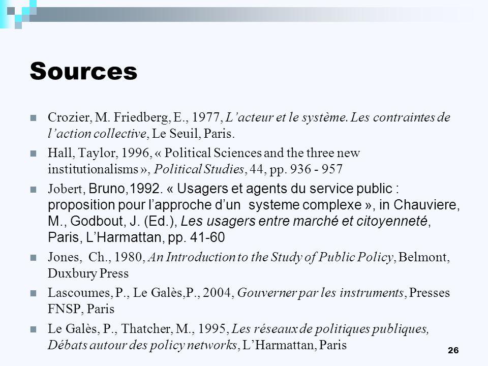 Sources Crozier, M. Friedberg, E., 1977, L'acteur et le système. Les contraintes de l'action collective, Le Seuil, Paris.