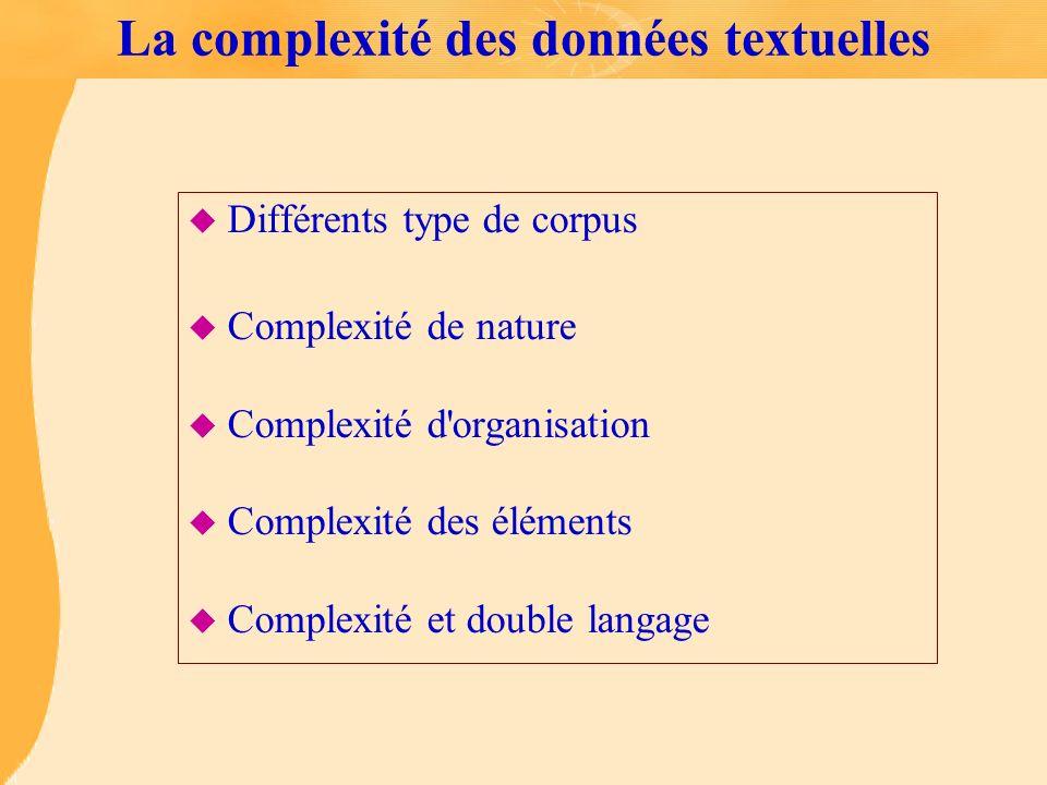 La complexité des données textuelles