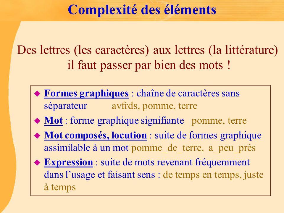 Complexité des éléments