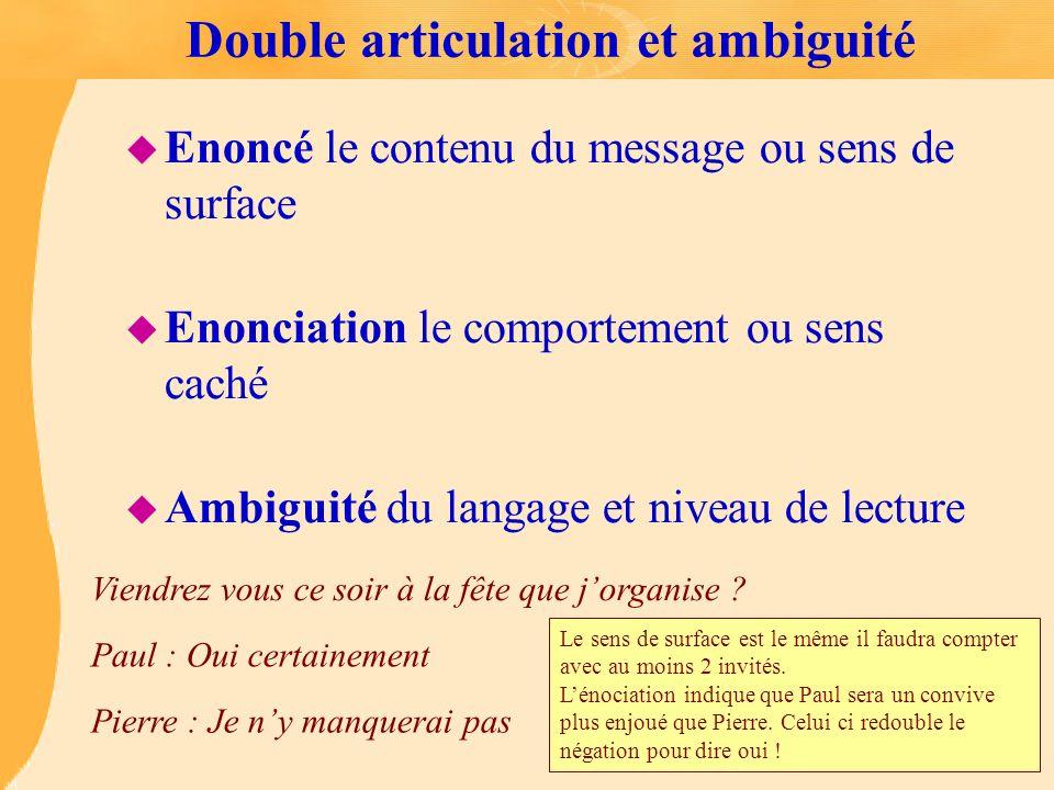Double articulation et ambiguité