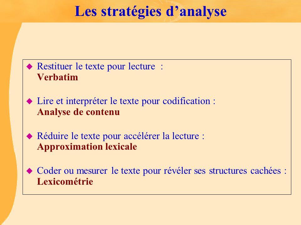 Les stratégies d'analyse