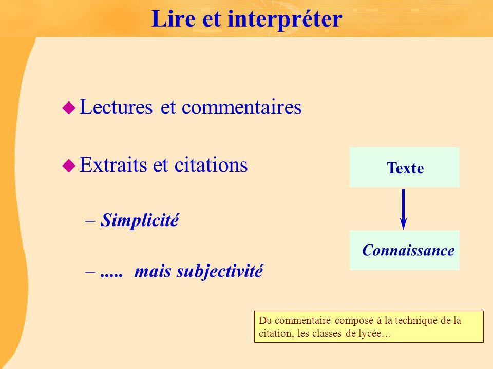 Lire et interpréter Lectures et commentaires Extraits et citations