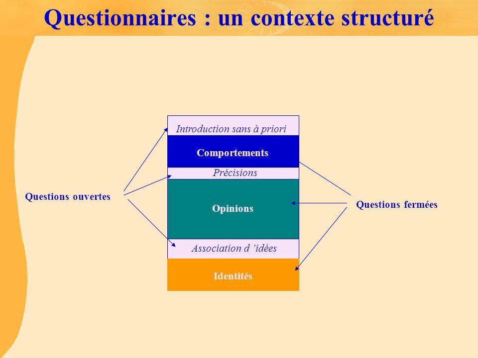 Questionnaires : un contexte structuré