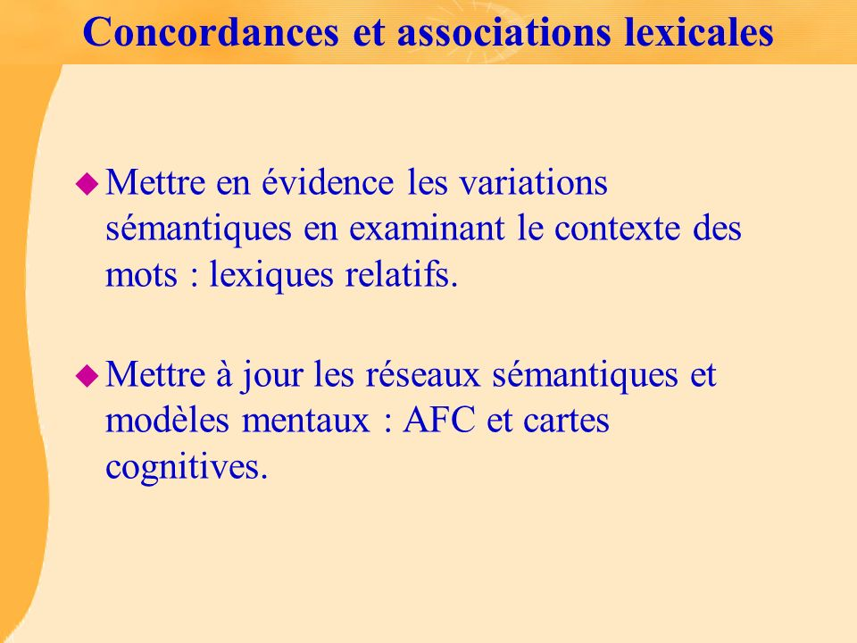 Concordances et associations lexicales