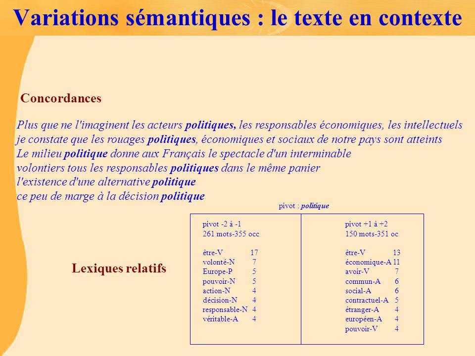 Variations sémantiques : le texte en contexte