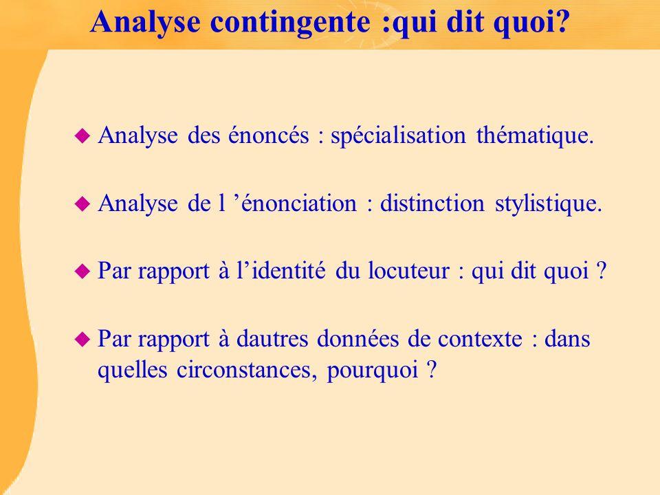 Analyse contingente :qui dit quoi