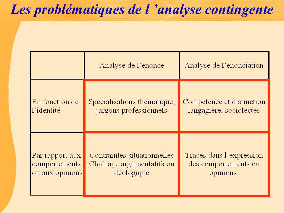 Les problématiques de l 'analyse contingente