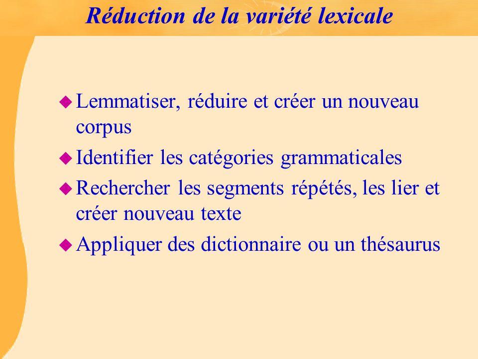 Réduction de la variété lexicale