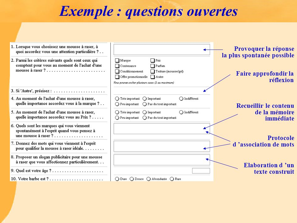 Exemple : questions ouvertes